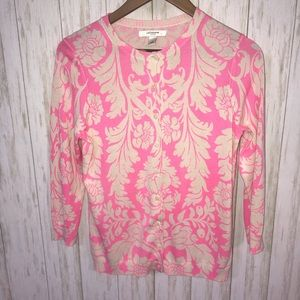 Liz Claiborne Cream and pink floral cardigan Med